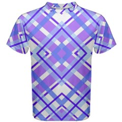 Geometric Plaid Pale Purple Blue Men s Cotton Tee