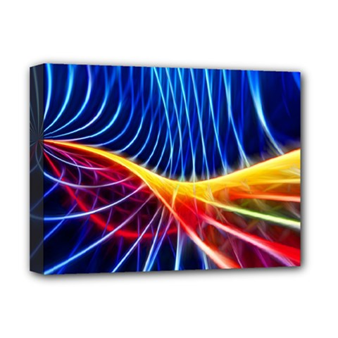 Color Colorful Wave Abstract Deluxe Canvas 16  X 12   by Amaryn4rt