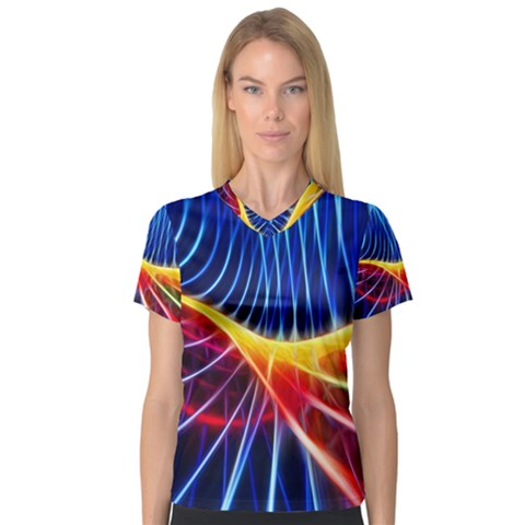 Color Colorful Wave Abstract Women s V-neck Sport Mesh Tee by Amaryn4rt