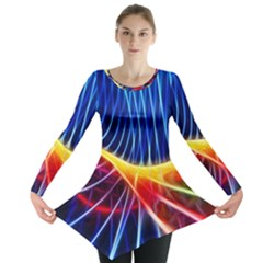 Color Colorful Wave Abstract Long Sleeve Tunic