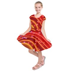 Bokeh Lines Wave Points Swing Kids  Short Sleeve Dress