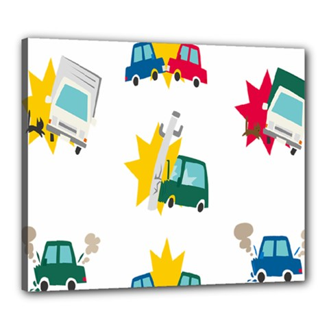 Accident Crash Car Cat Animals Canvas 24  X 20