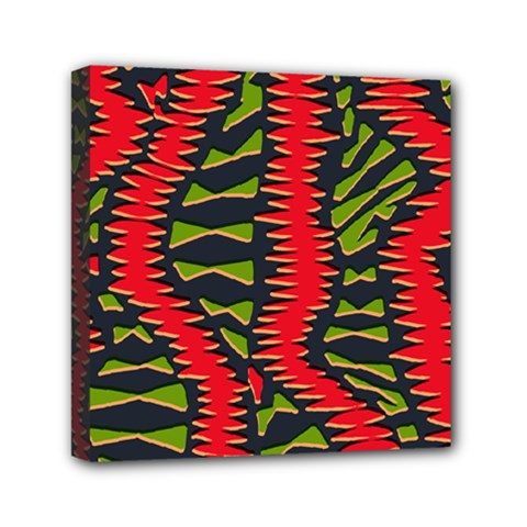 African Fabric Red Green Mini Canvas 6  X 6