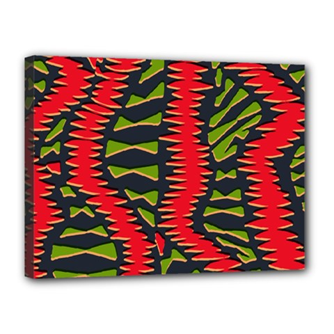 African Fabric Red Green Canvas 16  X 12