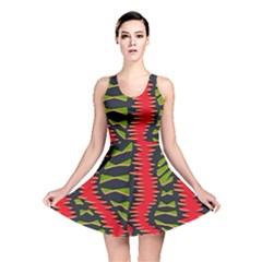 African Fabric Red Green Reversible Skater Dress