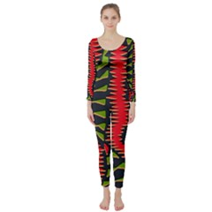 African Fabric Red Green Long Sleeve Catsuit
