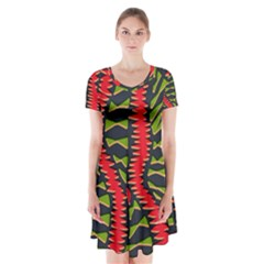 African Fabric Red Green Short Sleeve V Neck Flare Dress