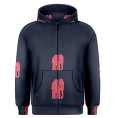 Animals Elephant Pink Blue Men s Zipper Hoodie