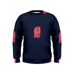 Animals Elephant Pink Blue Kids  Sweatshirt