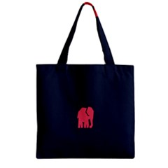 Animals Elephant Pink Blue Zipper Grocery Tote Bag by Alisyart