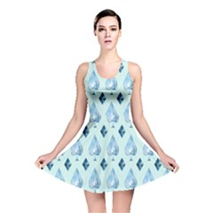 Ace Hibiscus Blue Diamond Plaid Triangle Reversible Skater Dress