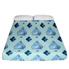 Ace Hibiscus Blue Diamond Plaid Triangle Fitted Sheet (king Size) by Alisyart