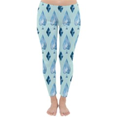 Ace Hibiscus Blue Diamond Plaid Triangle Classic Winter Leggings