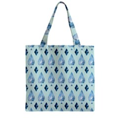 Ace Hibiscus Blue Diamond Plaid Triangle Zipper Grocery Tote Bag
