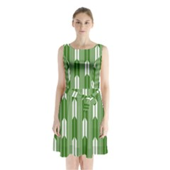 Arrows Green Sleeveless Chiffon Waist Tie Dress