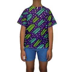 Arrows Purple Green Blue Kids  Short Sleeve Swimwear