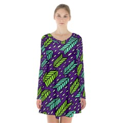 Arrows Purple Green Blue Long Sleeve Velvet V-neck Dress