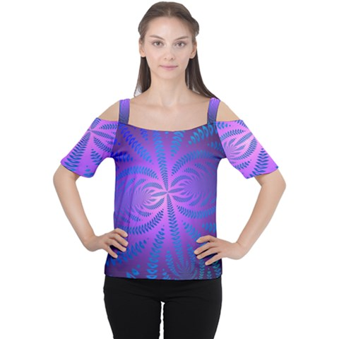 Background Brush Particles Wave Women s Cutout Shoulder Tee by Amaryn4rt