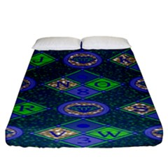 African Fabric Number Alphabeth Diamond Fitted Sheet (king Size)
