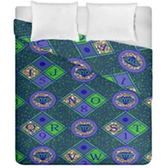African Fabric Number Alphabeth Diamond Duvet Cover Double Side (california King Size) by Alisyart