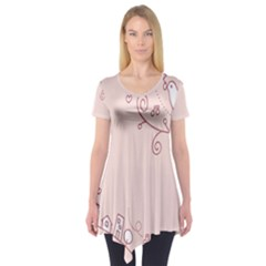 Bird City Sing Pink Notes Music Short Sleeve Tunic