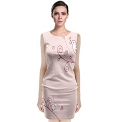 Bird City Sing Pink Notes Music Classic Sleeveless Midi Dress