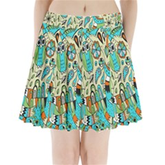 Animals Caterpillar Worm Owl Snake Leaf Flower Floral Pleated Mini Skirt