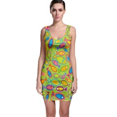 Animals Fish Green Pink Blue Green Yellow Water River Sea Sleeveless Bodycon Dress by Alisyart