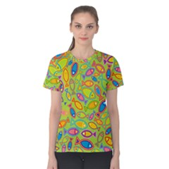 Animals Fish Green Pink Blue Green Yellow Water River Sea Women s Cotton Tee