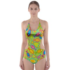 Animals Fish Green Pink Blue Green Yellow Water River Sea Cut Out One Piece Swimsuit