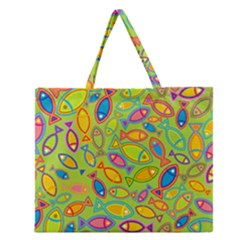 Animals Fish Green Pink Blue Green Yellow Water River Sea Zipper Large Tote Bag