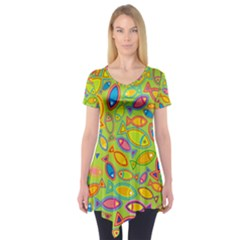 Animals Fish Green Pink Blue Green Yellow Water River Sea Short Sleeve Tunic