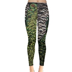 Bird Feathers Green Brown Classic Winter Leggings