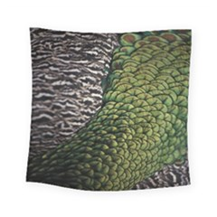 Bird Feathers Green Brown Square Tapestry (small)