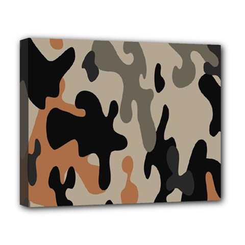 Camouflage Army Disguise Grey Orange Black Deluxe Canvas 20  X 16