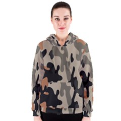 Camouflage Army Disguise Grey Orange Black Women s Zipper Hoodie