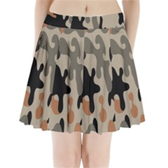 Camouflage Army Disguise Grey Orange Black Pleated Mini Skirt