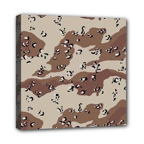 Camouflage Army Disguise Grey Brown Mini Canvas 8  X 8