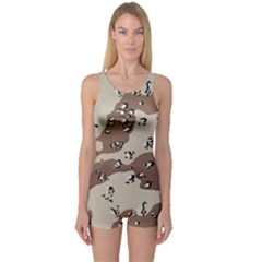 Camouflage Army Disguise Grey Brown One Piece Boyleg Swimsuit