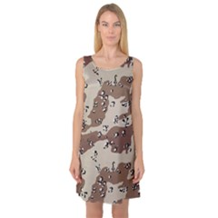 Camouflage Army Disguise Grey Brown Sleeveless Satin Nightdress