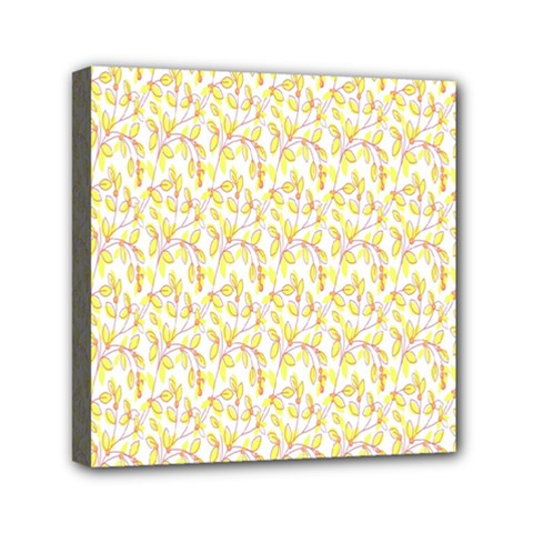 Branch Spring Texture Leaf Fruit Yellow Mini Canvas 6  X 6  by Alisyart