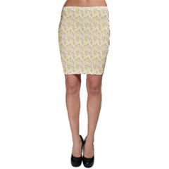 Branch Spring Texture Leaf Fruit Yellow Bodycon Skirt