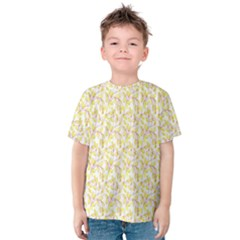 Branch Spring Texture Leaf Fruit Yellow Kids  Cotton Tee by Alisyart