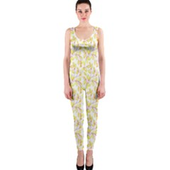Branch Spring Texture Leaf Fruit Yellow Onepiece Catsuit by Alisyart