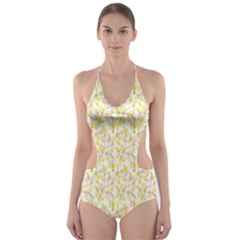 Branch Spring Texture Leaf Fruit Yellow Cut Out One Piece Swimsuit
