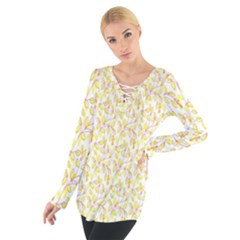Branch Spring Texture Leaf Fruit Yellow Women s Tie Up Tee
