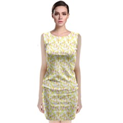 Branch Spring Texture Leaf Fruit Yellow Classic Sleeveless Midi Dress by Alisyart