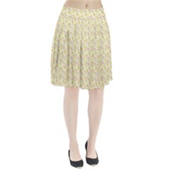 Branch Spring Texture Leaf Fruit Yellow Pleated Skirt