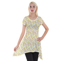 Branch Spring Texture Leaf Fruit Yellow Short Sleeve Side Drop Tunic