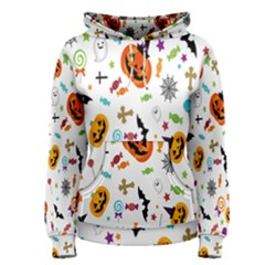 Candy Pumpkins Bat Helloween Star Hat Women s Pullover Hoodie
